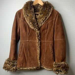 Wilsons real leather suede fur jacket VTG xs
